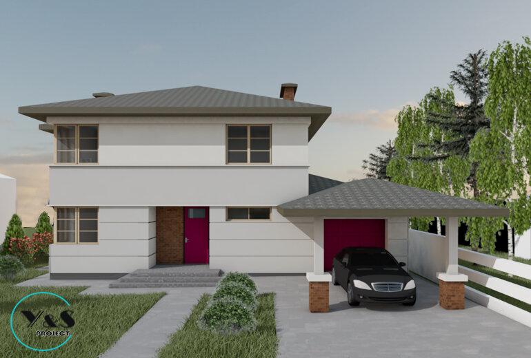 Проект заміського будинку із гаражем і навісом для автомобілів